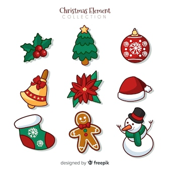 Beautiful hand drawn christmas elements collection