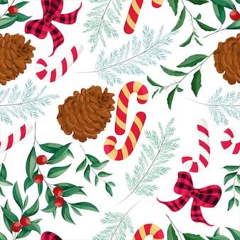 아름다운 손으로 그린 크리스마스 요소 패턴