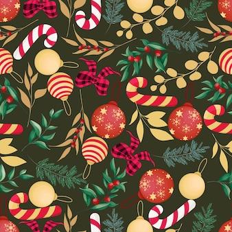 Bellissimo motivo di elementi natalizi disegnati a mano