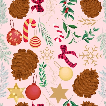 아름다운 손으로 그린 크리스마스 패턴 디자인