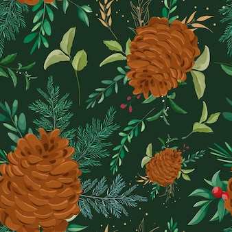 Красивый рисованный рождественский узор