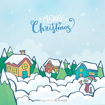 Beautiful hand drawn christmas town