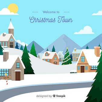 Beautiful hand drawn christmas town
