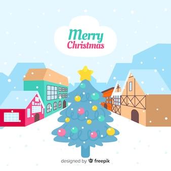 Красивый рисованный рождественский город