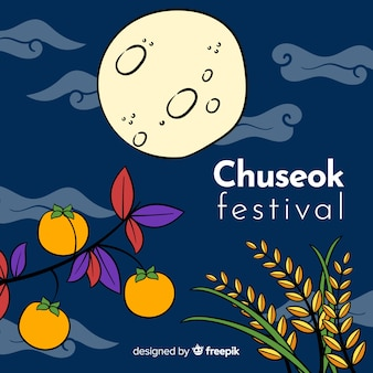 Beautiful hand drawn chuseok background
