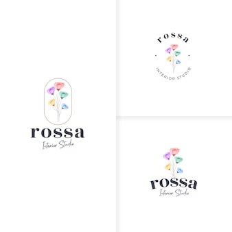 Beautiful hand drawn colorful flower logo template