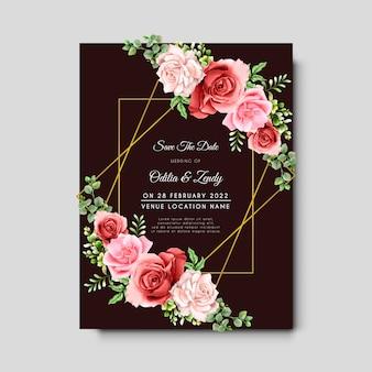 美しい手描きのユーカリと咲くバラの結婚式の招待カード