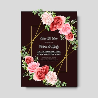 Beautiful hand drawn eucalyptus and blooming roses wedding invitation card