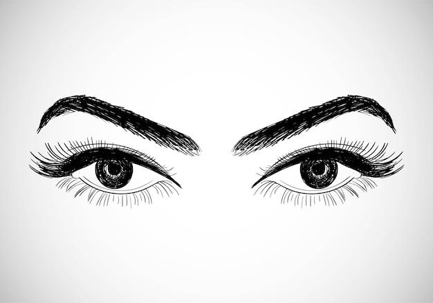 Красивые рисованные глаза эскиз дизайна