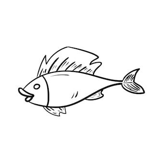 美しい手描きのファッション魚のアイコン手描きの黒いスケッチ