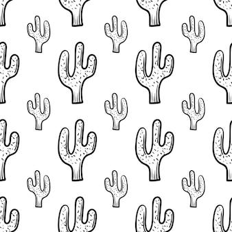 美しい手描きのファッションシームレスパターンサボテンアイコン。手描きの黒いスケッチ。サイン/シンボル/落書き。白い背景で隔離。フラットなデザイン。ベクトルイラスト。