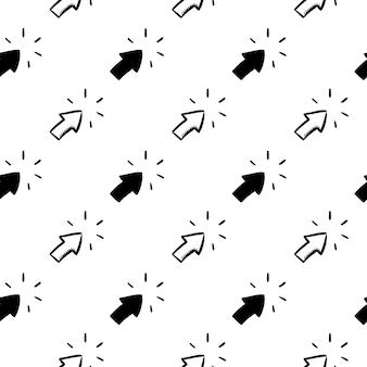 아름 다운 손으로 그린 패션 완벽 한 패턴 화살표 아이콘을 클릭 합니다. 손으로 그린 검은 스케치. 기호 / 기호 / 낙서. 흰색 배경에 고립. 평면 디자인. 벡터 일러스트 레이 션.