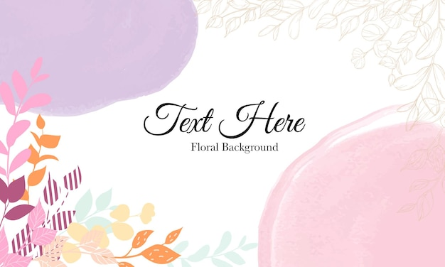 Beautiful hand drawn floral background template