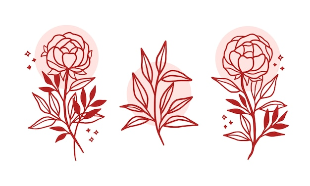 Beautiful hand drawn floral logo elements