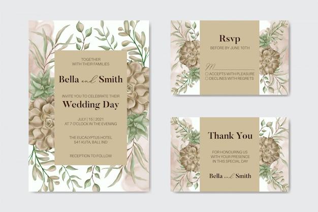 美しい手描きの花延期結婚式の招待カード