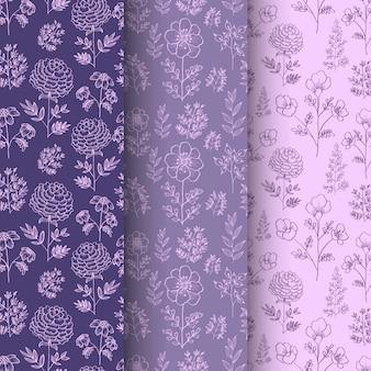 Beautiful hand drawn floral seamless pattern set