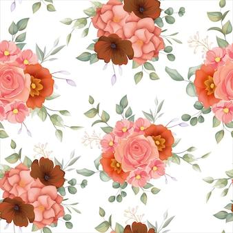 Красивая рука нарисованные цветочные бесшовные модели с цветочным орнаментом бохо