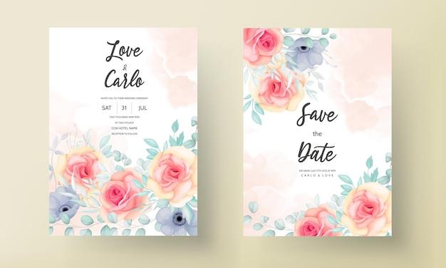 美しい手描きの花の結婚式の招待カードのデザイン