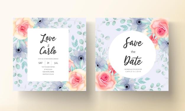 아름 다운 손으로 그린 꽃 결혼식 초대 카드 디자인