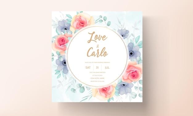 Disegno di carta invito matrimonio floreale disegnato a mano bella