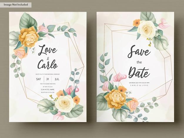 Красивый рисованный цветочный шаблон свадебного приглашения