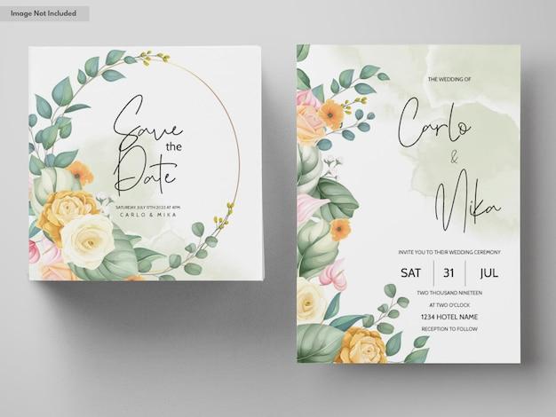 美しい手描きの花の結婚式の招待カードテンプレート