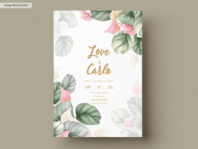 Carta di invito matrimonio floreale disegnata a mano bella