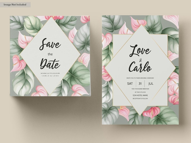 Beautiful hand drawn floral wedding invitation card