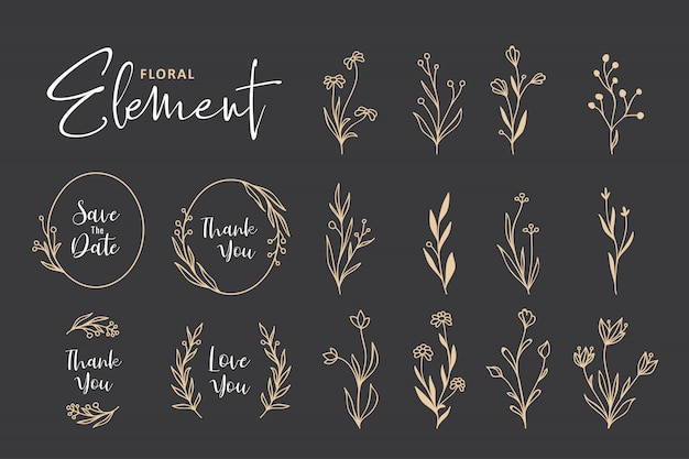 Beautiful hand drawn floral wreath collection