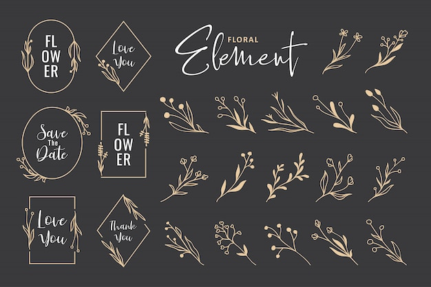 Beautiful hand drawn floral wreath vector collection