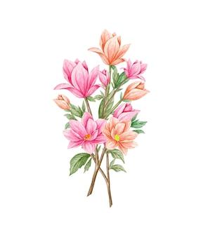 아름 다운 손으로 그린 꽃 꽃다발
