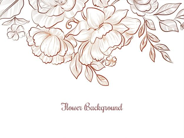 아름 다운 손으로 그린 꽃 디자인 배경