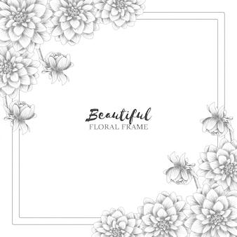 美しい手描きの花のフレーム