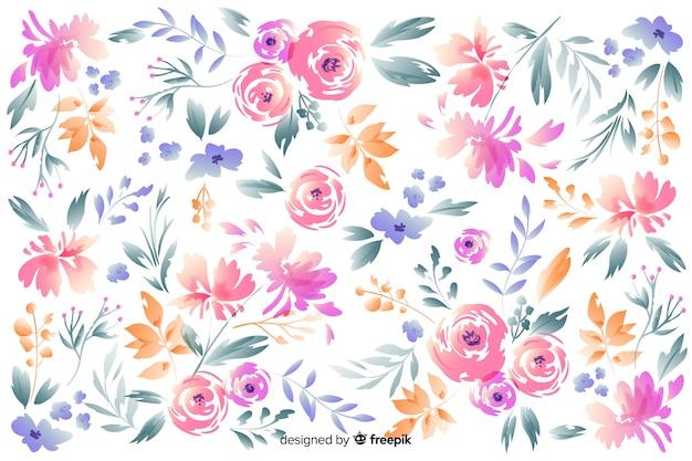 Bellissimi fiori disegnati a mano su sfondo bianco