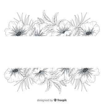 Beautiful hand drawn flowers with blank banner