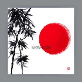 Beautiful hand-drawn illustration with japanese natural motifs. sun and bamboo branches. sumi-e
