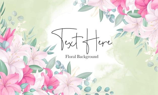 美しい手描きのユリの花の背景