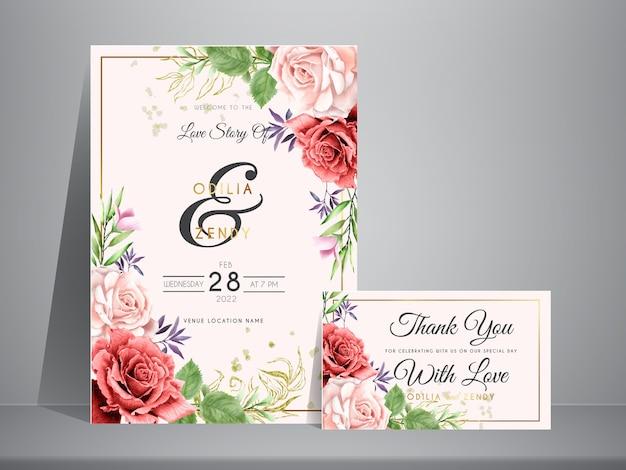 美しい手描きの栗色とピンクのバラの結婚式の招待カード