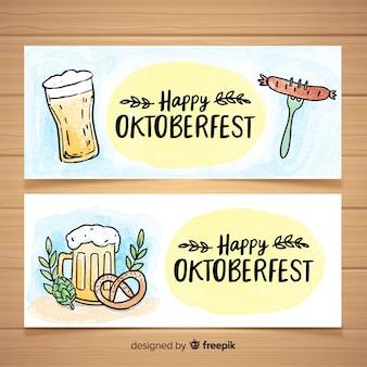 Beautiful hand drawn oktoberfest banners