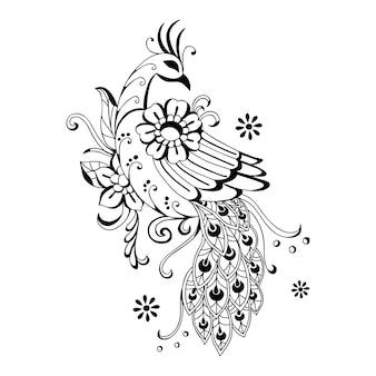 美しい手描きの孔雀