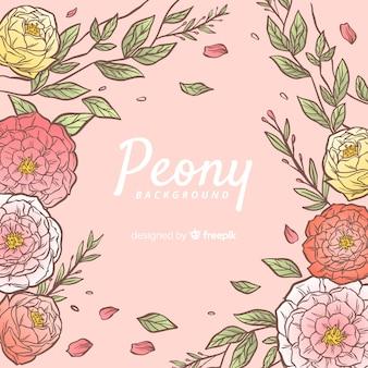 Beautiful hand drawn peony flowers background
