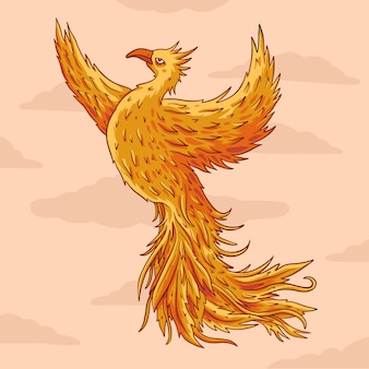 Beautiful hand drawn phoenix