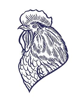美しい手描きのオンドリ。 2017年のシンボル