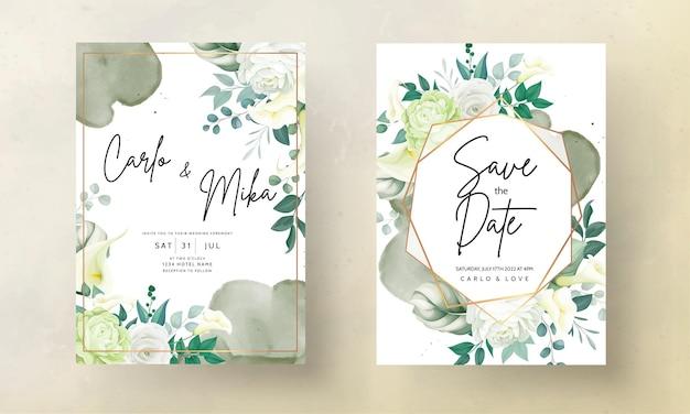 美しい手描きのバラとオランダカイウユリの花の結婚式の招待カード
