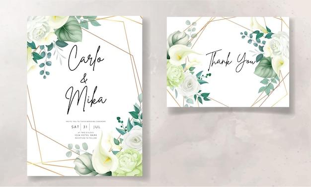 Красивая рисованная роза и цветок каллы свадебное приглашение