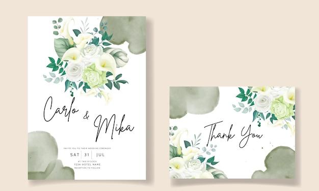 아름다운 손으로 그린 장미와 칼라 백합 꽃 청첩장