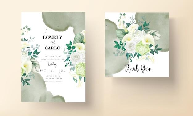 Bella carta di invito a nozze fiore rosa e calla disegnata a mano