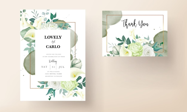 Beautiful hand drawn rose and calla lily flower wedding invitation card