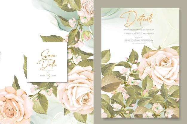 Красивые рисованной розы свадебные приглашения набор карт
