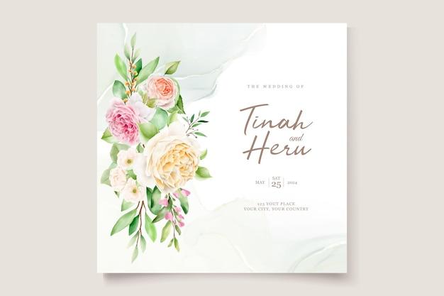 美しい手描きのバラの結婚式の招待カードセット